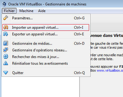 Import de l'application